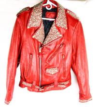 Clinton Gregory Personally Owned & Worn Red Studded Leather Jacket Made by Branded Garments Autographed by Clinton Gregory W/COA