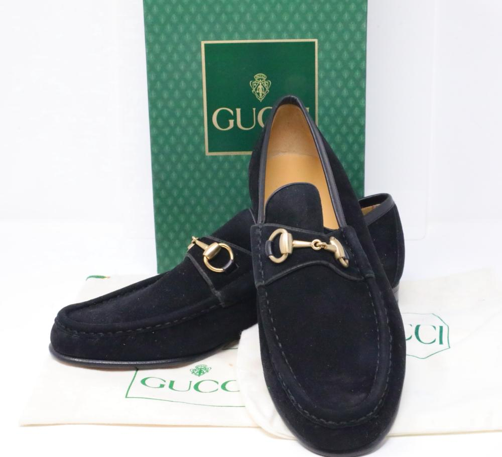6add3dc99 Gucci Vintage 1980s Black Suede Men's Horsebit Loafers New in Box W/Dust  Cover