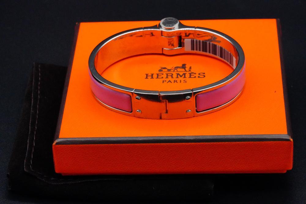 Hermes Rose Flamingo Charniere Uni Hinged Bracelet
