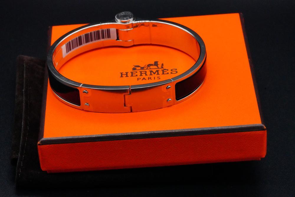 Hermes Noir Enamel Charniere Uni Hinged Bracelet