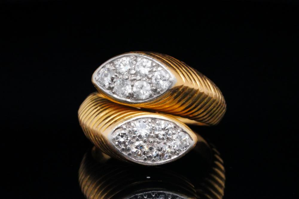 Cartier Vintage 0.60ctw Diamond and 14K Bypass Ring