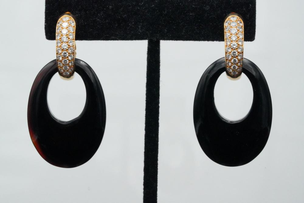 Cartier 1993 2.50ctw Diamond, Onyx and 18K Earrings