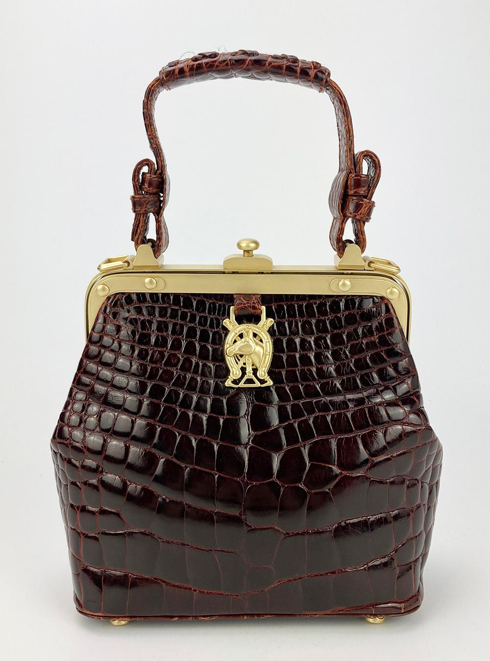 Kieselstein-Cord Brown Alligator Horseshoe Bag