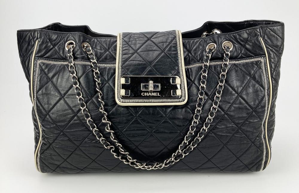 Chanel Black Leather East West Mademoiselle Lock Tote