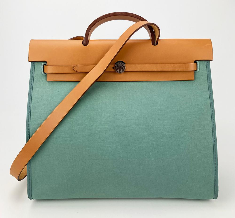 Hermes Blue Toile Canvas & Tan Leather Herbag Tote