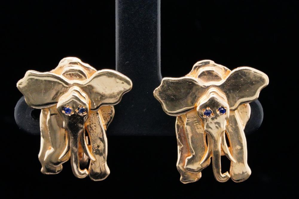 14K Yellow Gold Elephant Earrings W/Blue Sapphires