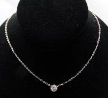 1.25ct VS2-SI1/G-H Channel-Set Diamond Solitaire & Solid 14K White Gold Necklace *Stunning*