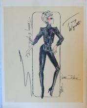 Tammy Wynette Original Costume Sketch by Ret Turner Signed by the Artist & Autographed by Tammy Wynette W/COA