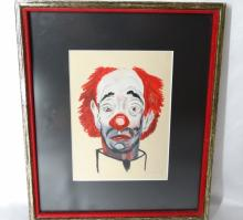 Authentic Frank Sinatra ORIGINAL Oil on Canvas Clown Painting Professionally Matted & Framed in Museum Quality Frame *AMAZING PIECE*