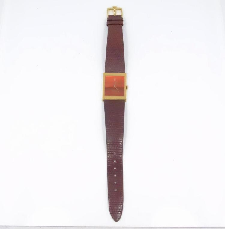 AUTHENTIC Vintage Rolex Geneve Cellini 18K Yellow Gold Orange Mirror Dial Winding Watch W/Original Brown Leather Strap *WORKING*