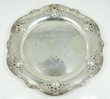 Lot of (2) Shreve & Co. San Francisco Louis XVI Solid Sterling Silver Pierced Bon Bon Plates
