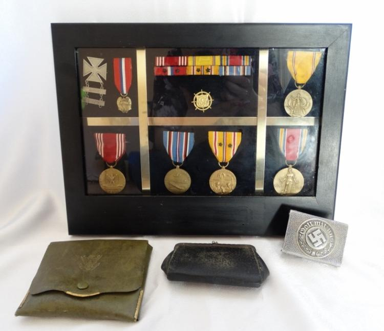 WWII American Soldier's Memorabilia-Nazi Officer's Belt Buckle, Coin Purse, Sewing Kit, & Collection of Medals