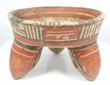 Michoacan Ceramic Tripod Vessel W/Rattle Legs Found in Mexico Circa 900-1000 AD.