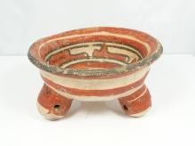 Mayan Campeche Painted Pottery Tripod Vessel From Mexico Circa 500-600 AD.