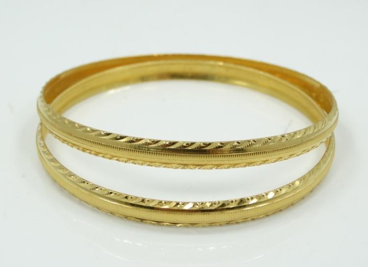 Pair of Solid 22K Yellow Gold 10mm Wide Bangle Bracelets W/Diamond Cut & Incised Details