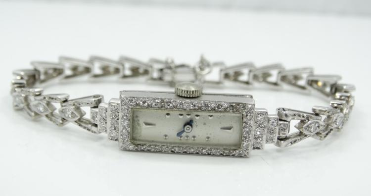 2.20ctw Genuine VS2-SI1/F-H Dimaond & Solid 14K White Gold Rectangle Face 17J Ladie's Watch *Working*