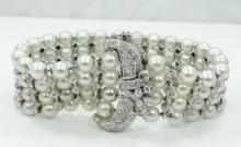 4ctw Genuine VS1-VS2/F-G Diamond Four-Strand 6mm South Sea Pearl Bracelet W/Solid 14K White Gold Clasp, Inserts & Strands