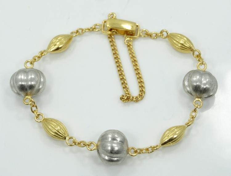 Solid .9999 Fine Gold & Fine .999 Platinum Gucci Style Bracelet W/Wedged Globular Inserts *Stunning Piece*