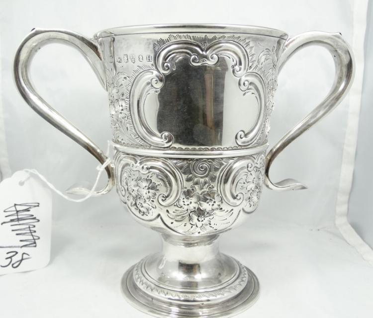 1798 English George III Solid Sterling Silver Two-Handled Loving Cup Made in Newcastle Collabrative Piece by Thomas Watson & John Langlands II (481.9 Grams)