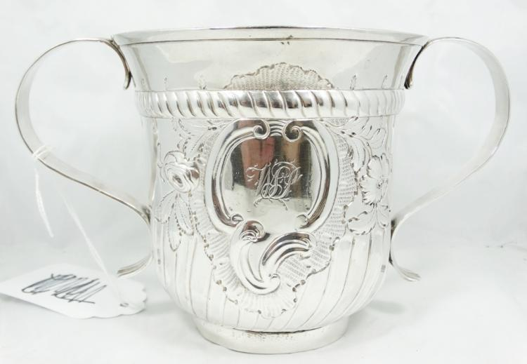 Rare 1758 English George II Solid Sterling Silver Two-Handled Porringer Made in London by John Berfthelot (311.8 Grams)
