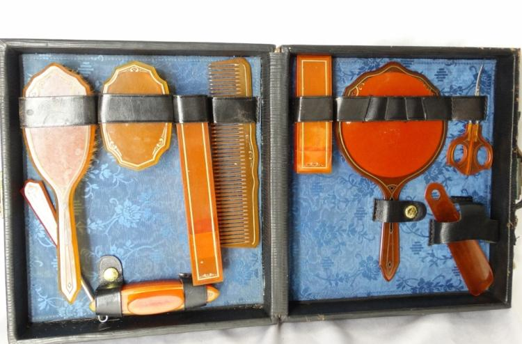 Early 1900's Abel & Bach Co. 10-Piece Amber Bakelite Travel Grooming Kit in Original Locking Box W/Key