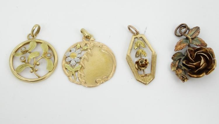 Lot of (4) Antique Solid 14K Yellow Gold Charms W/Multi-Colored Gold Accents