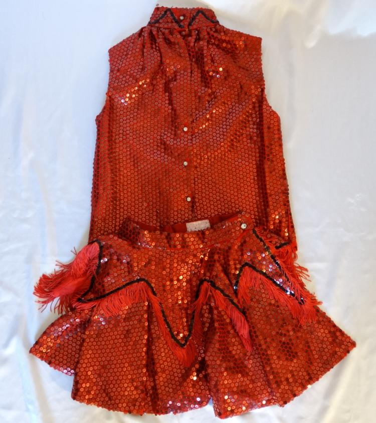 Stella Parton Personally Owned and Worn Custom Made Two-Piece Red Sequined Western Go-Go Outfit W/COA