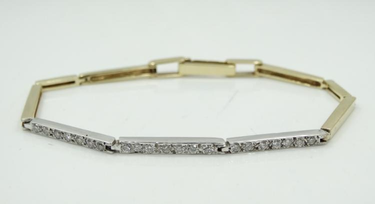 Modernist Solid 14K Yellow & White Gold
