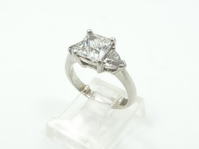 2.01CTW Genuine VS2/E Princess Cut Diamond Ring W/Trillion Cut Diamond Accents in SOLID Platinum Setting W/GIA Report