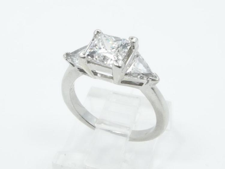 2.31CTW Genuine Diamond & SOLID Platinum Ring W/1.51CT GIA Certified VS1/F Center Diamond *STUNNING*