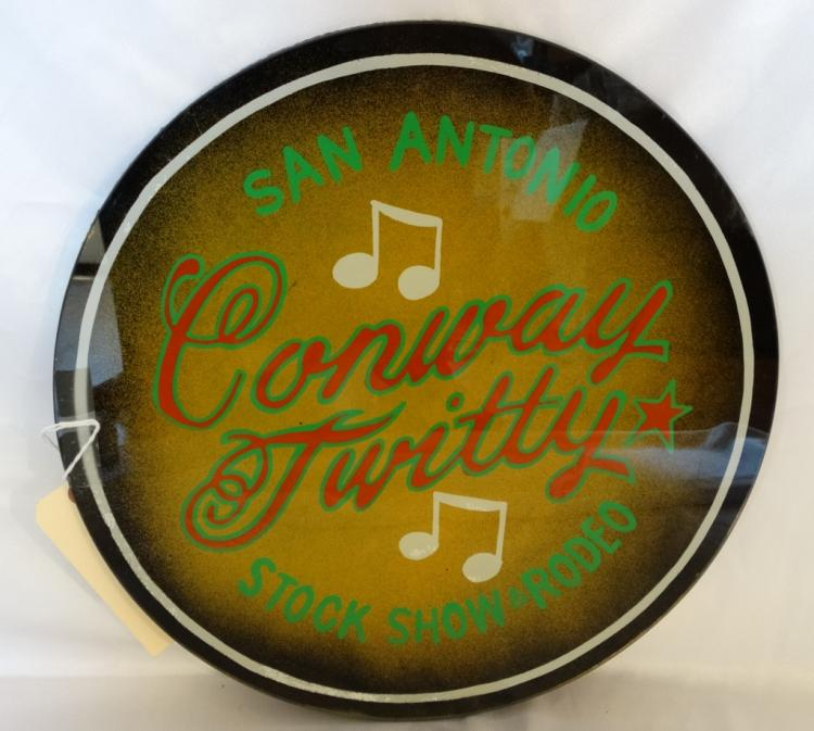 Conway Twitty Personally Owned Reverse Painted Round Glass Wall Art From San Antonio Stock Show & Rodeo W/COA From Conway Twitty Estate