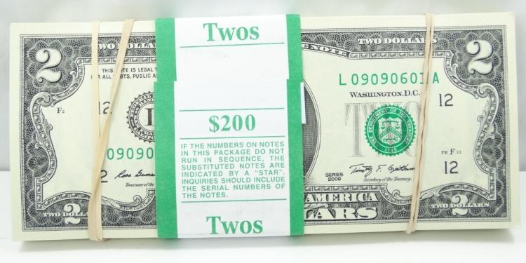 (100) $2 Bills in Mint Condition in Numeric Order *MINT