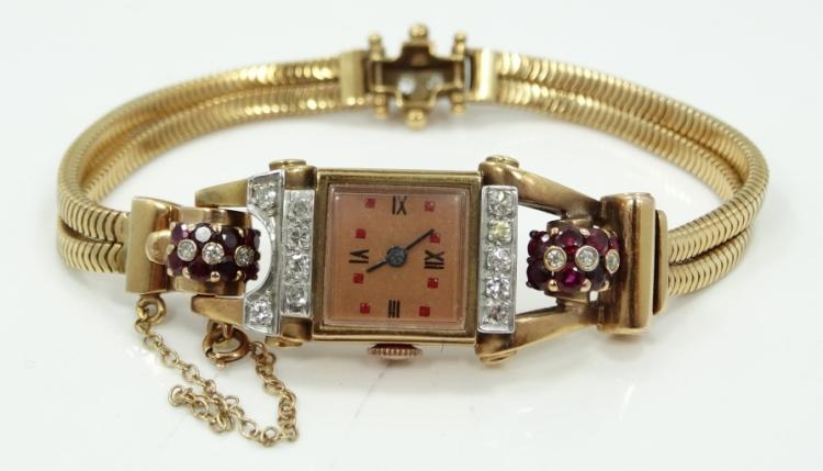1930's WORKING Deco Solid 18K Rose Gold Watch W/1ctw Genuine Rubies, 1.05ctw Diamonds, Beveled Jewel Accented Hinges, Dual Strand Band & Diamond Accented Clasp (37 Grams)