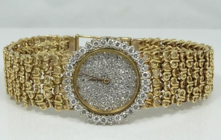 Bueche Girod SOLID 18K 17 Jewel Swiss Movement Watch W/1.10CTW Genuine Diamond Bezel & 1.00CTW Diamond Dial *WORKING*