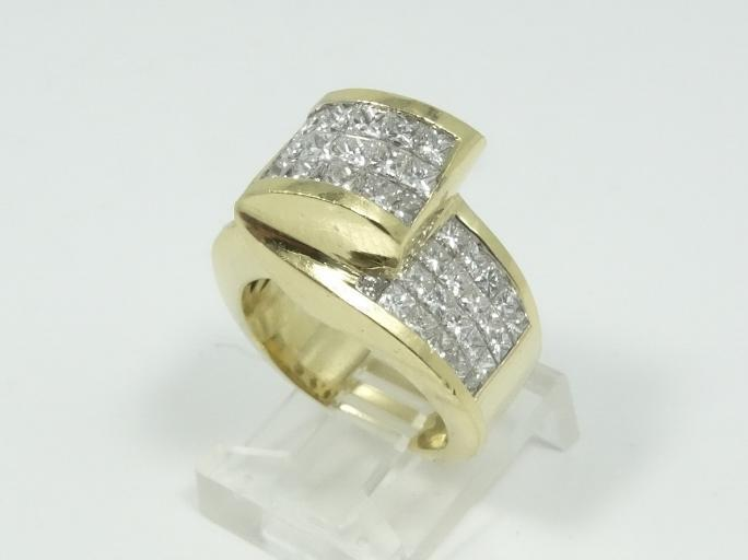 3.00CTW Genuine SI1-SI2/H-I Puzzle Set Diamond & SOLID 18K Yellow Gold Ring