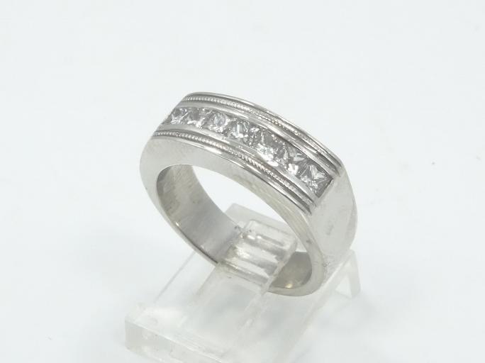 1.05CTW Genuine Princess-Cut VS1-VS2/F-G Diamond & Solid Platinum 6mm Men's Ring W/Miligree Details (18.6 Grams)