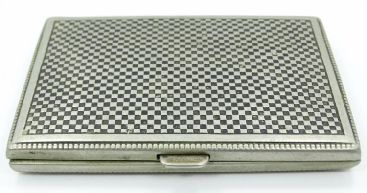 Antique German Alpacca Silver Cigarette Case W/Black Enamel Checkerboard Pattern