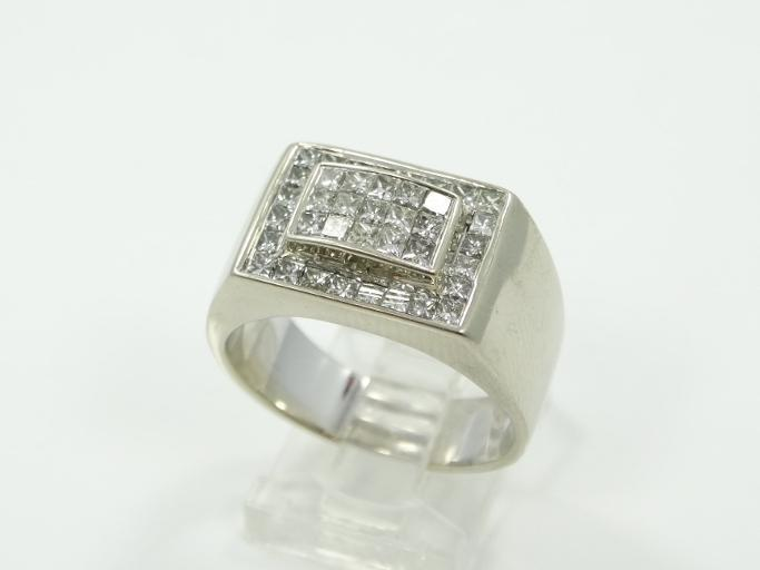 2.50CTW Genuine SI1-SI2/G-H Diamond & Solid 14K White Gold Deco Style Ring W/Puzzle-Set Diamonds & Raised Center