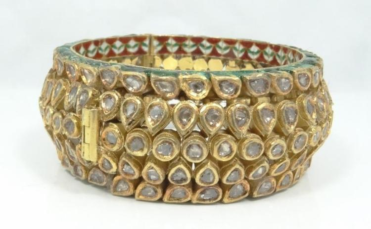 Antique 17.70CTW Genuine Uncut Diamond & Solid 21K Yellow Gold Bangle Bracelet W/Multi-Colored Enamel Accents & Slide Pin Clasp (136.10 Grams)