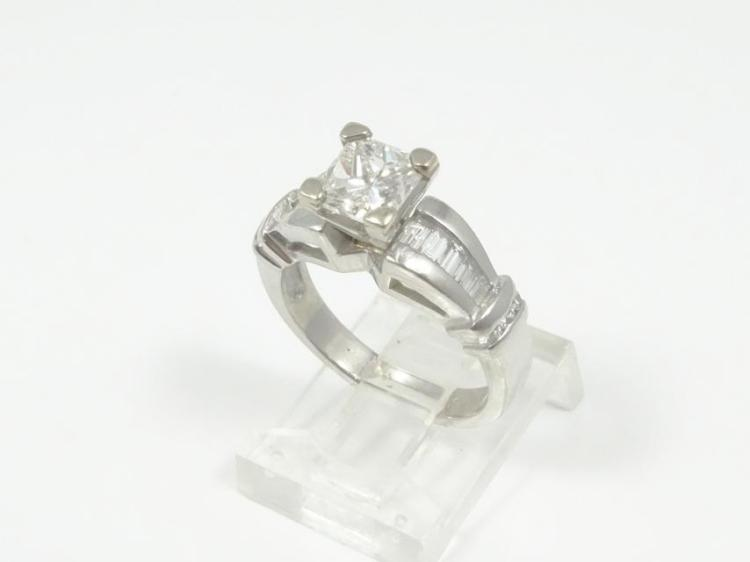 1.25CTW Genuine VS2-SI1/F-H Diamond &  SOLID Platinum Ring (W/1.00CT VS2-SI1 Princess-Cut Center)