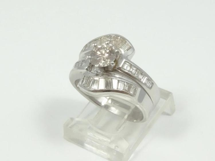1.50CTW Genuine SI1-SI2/G-H Diamond & Solid 14K White Gold Ring Set (0.50CT Center Diamond)