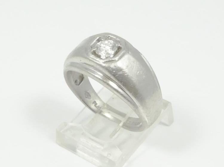 Men's SOLID Platinum Edwardian Style Ring W/0.25CT Genuine Diamond (Center Stone)