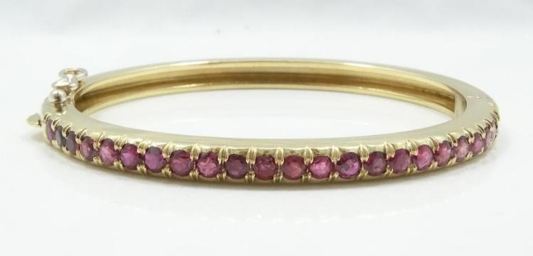 2.45CTW Genuine Ruby & SOLID 18K Yellow Gold Designer/Custom Bangle Bracelet W/Side Clasp (30.5 Grams) *Has Maker's Mark*