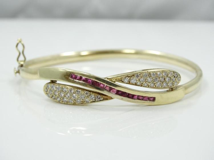 0.80CTW Genuine Diamond, 0.30CTW Ruby & Solid 14K Yellow Gold Bangle Bracelet W/Side Clasp