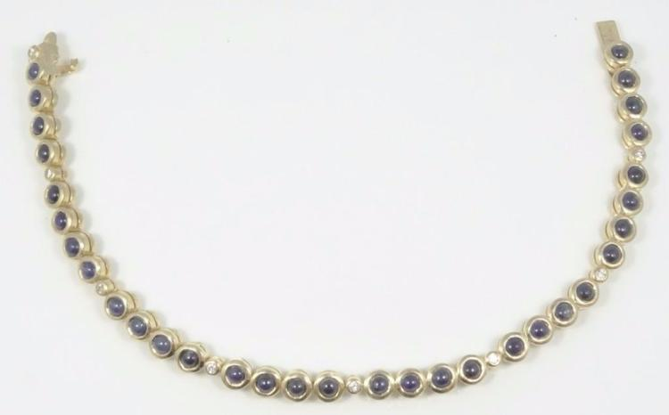 3.20CTW Cabachon Blue Sapphire & Solid 18K Yellow Gold Tennis Bracelet W/Genuine Diamond Accents