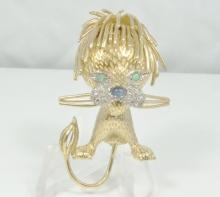 SOLID 18K Yellow Gold Lion Brooch With Genuine Diamonds, Cabochon Sapphire Nose & Emerald Eyes *Fine Detail*
