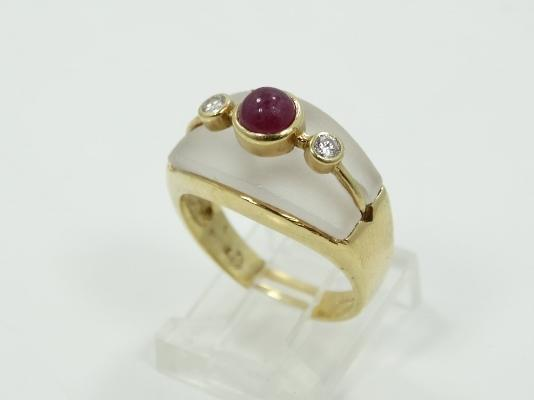 Vintage Greek Designer Solid 18K Yellow Gold & Frosted Quartz Ring W/4MM Raw Ruby Cabochon & Genuine Diamond Accents *Has Maker's Mark*