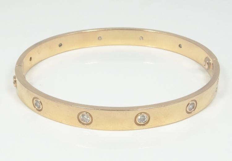 Cartier Style SOLID 18K Rose Gold & 1.00CTW Genuine SI1-SI2/G-H Diamond Bangle Bracelet