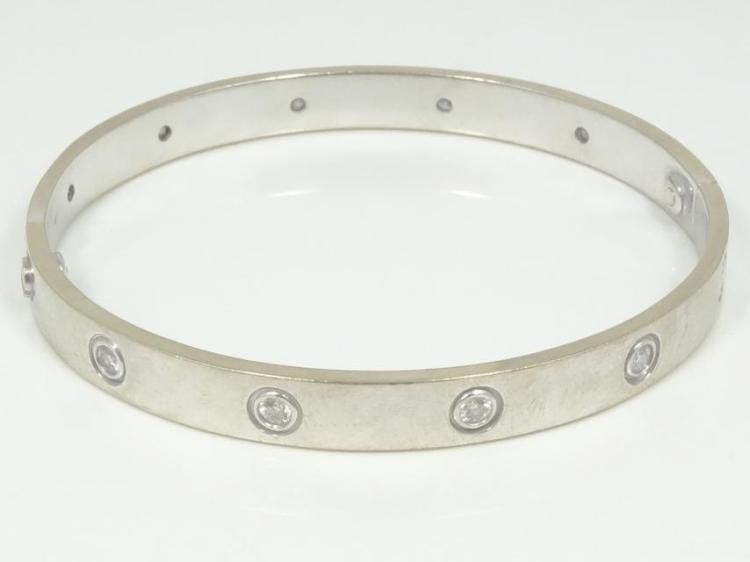 Cartier Style SOLID 18K White Gold & 1.00CTW Genuine SI1-SI2/G-H Diamond Bangle Bracelet