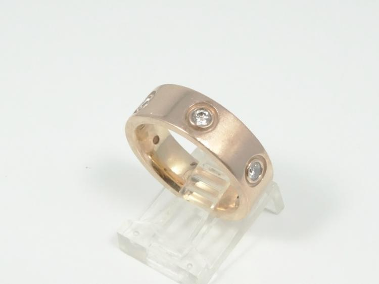Cartier Style Solid 18K Rose Gold & 0.60CTW Genuine SI1-SI2/G-H Diamond Ring